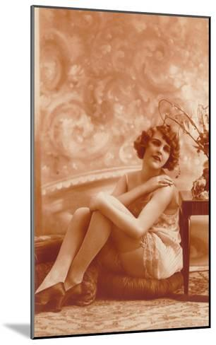 Woman in Slip with Swirly Wallpaper--Mounted Art Print