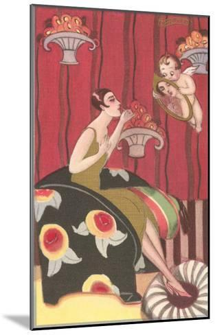 Cupid Holding Mirror for Flapper--Mounted Art Print