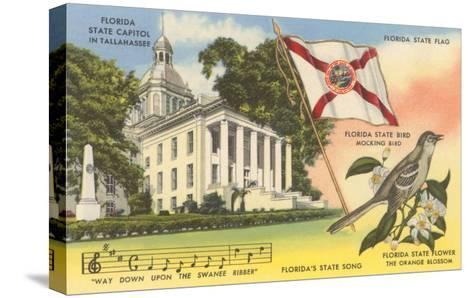 State Capitol, Mocking Bird, Flag, Florida--Stretched Canvas Print