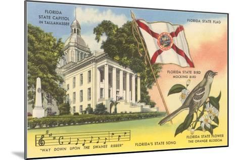 State Capitol, Mocking Bird, Flag, Florida--Mounted Art Print