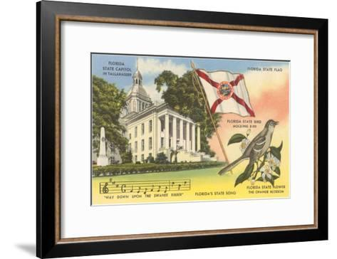 State Capitol, Mocking Bird, Flag, Florida--Framed Art Print