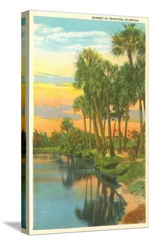 Sunset, Palm Trees, Florida--Stretched Canvas Print