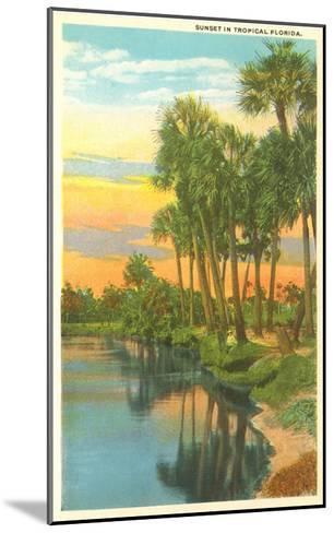 Sunset, Palm Trees, Florida--Mounted Art Print