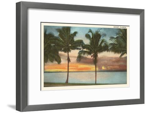 Sunset, Palm Trees, Florida--Framed Art Print