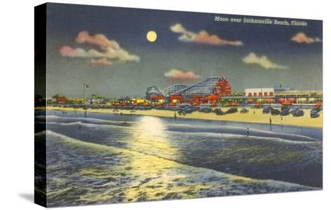 Moon over Jacksonville, Florida--Stretched Canvas Print