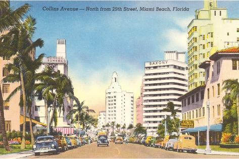 Collins Avenue, Miami Beach, Florida--Stretched Canvas Print