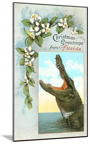Christmas Greetings from Florida, Alligator--Mounted Art Print