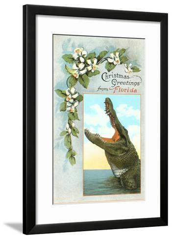 Christmas Greetings from Florida, Alligator--Framed Art Print