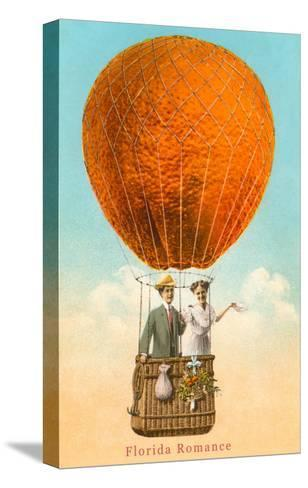 Florida Romance Couple in Orange Balloon--Stretched Canvas Print