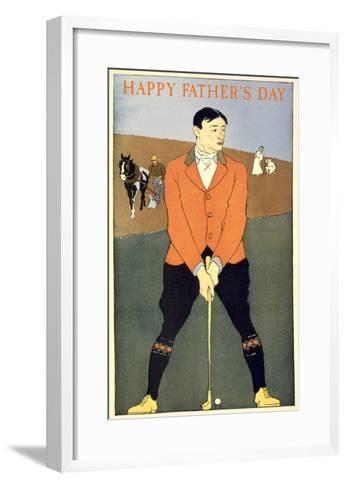 Happy Father's Day, Golfer on Farm--Framed Art Print