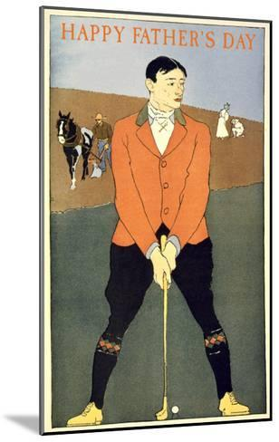 Happy Father's Day, Golfer on Farm--Mounted Art Print