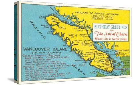 Map of Vancouver Island, Canada--Stretched Canvas Print