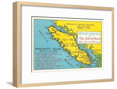 Map of Vancouver Island, Canada--Framed Art Print