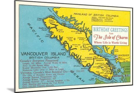 Map of Vancouver Island, Canada--Mounted Art Print