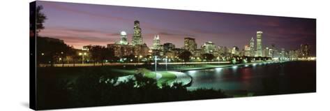 Night Skyline Chicago Il, USA--Stretched Canvas Print