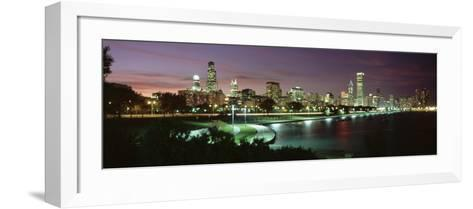 Night Skyline Chicago Il, USA--Framed Art Print