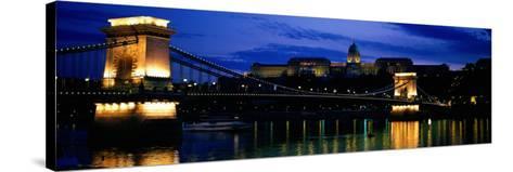 Szechenyi Bridge Royal Palace Budapest Hungary--Stretched Canvas Print