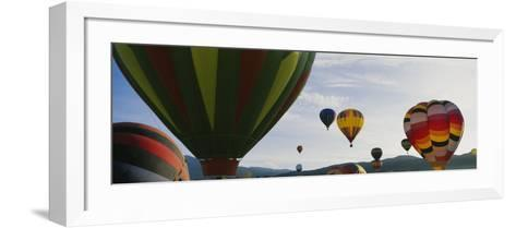 Hot Air Balloons in the Sky, Taos, New Mexico, USA--Framed Art Print
