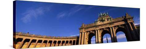 Low Angle View of a Triumphal Arch, Palais Du Cinquantenaire, Brussels, Belgium--Stretched Canvas Print