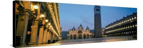 Cathedral Lit Up at Dusk, St. Mark's Cathedral, St. Mark's Square, Venice, Veneto, Italy--Stretched Canvas Print