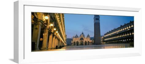 Cathedral Lit Up at Dusk, St. Mark's Cathedral, St. Mark's Square, Venice, Veneto, Italy--Framed Art Print