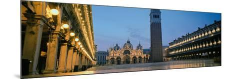 Cathedral Lit Up at Dusk, St. Mark's Cathedral, St. Mark's Square, Venice, Veneto, Italy--Mounted Photographic Print