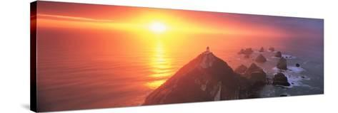 Sunset Nugget Point Lighthouse New Zealand--Stretched Canvas Print