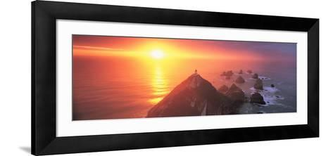Sunset Nugget Point Lighthouse New Zealand--Framed Art Print