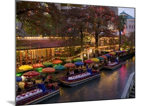 Restaurant Along a River Lit Up at Dusk, San Antonio River, San Antonio, Texas, USA--Mounted Photographic Print