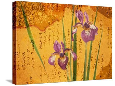 Oriental Batik Style Purple Bearded Iris and Green Leaves on Mottled Gold Background--Stretched Canvas Print