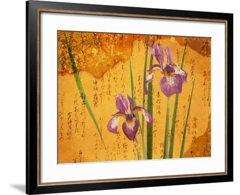 Oriental Batik Style Purple Bearded Iris and Green Leaves on Mottled Gold Background--Framed Art Print
