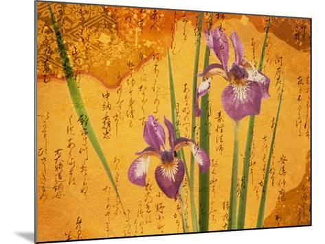 Oriental Batik Style Purple Bearded Iris and Green Leaves on Mottled Gold Background--Mounted Photographic Print