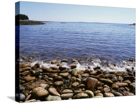 Maine, Acadia National Park, Wonderland Trail, Sea Waves Hitting Rocky Beach--Stretched Canvas Print