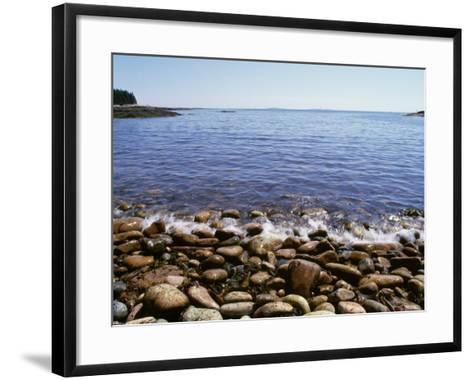 Maine, Acadia National Park, Wonderland Trail, Sea Waves Hitting Rocky Beach--Framed Art Print