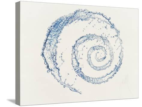 Spiral of Water Drops with White Background--Stretched Canvas Print