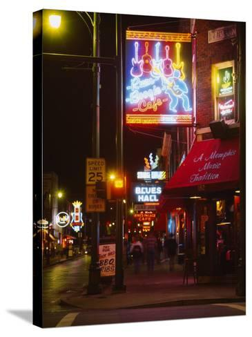Neon Sign Lit Up at Night in a City, Rum Boogie Cafe, Beale Street, Memphis, Shelby County--Stretched Canvas Print