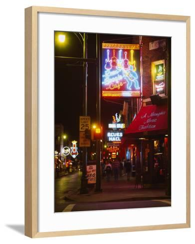 Neon Sign Lit Up at Night in a City, Rum Boogie Cafe, Beale Street, Memphis, Shelby County--Framed Art Print