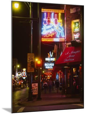Neon Sign Lit Up at Night in a City, Rum Boogie Cafe, Beale Street, Memphis, Shelby County--Mounted Photographic Print