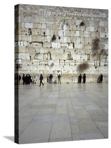 Group of People Praying in Front of a Wall, Western Wall, Old City, Jerusalem, Israel--Stretched Canvas Print