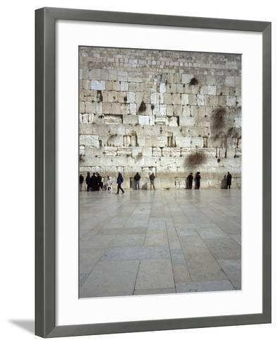Group of People Praying in Front of a Wall, Western Wall, Old City, Jerusalem, Israel--Framed Art Print