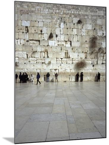 Group of People Praying in Front of a Wall, Western Wall, Old City, Jerusalem, Israel--Mounted Photographic Print