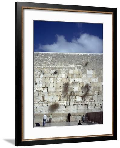 Group of People Praying in Front of a Wall, Western Wall, Jerusalem, Israel--Framed Art Print