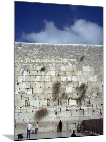 Group of People Praying in Front of a Wall, Western Wall, Jerusalem, Israel--Mounted Photographic Print