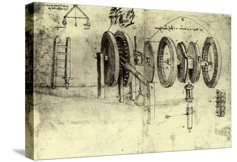 View of a Hoist-Leonardo da Vinci-Stretched Canvas Print