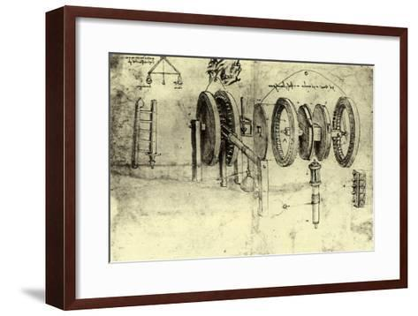 View of a Hoist-Leonardo da Vinci-Framed Art Print