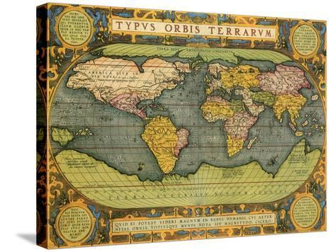 Oval World Map 1598-Abraham Ortelius-Stretched Canvas Print