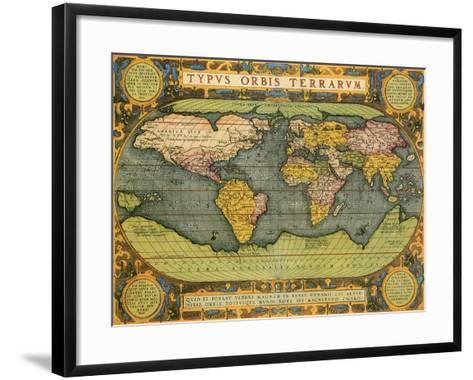 Oval World Map 1598-Abraham Ortelius-Framed Art Print