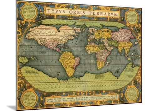 Oval World Map 1598-Abraham Ortelius-Mounted Giclee Print
