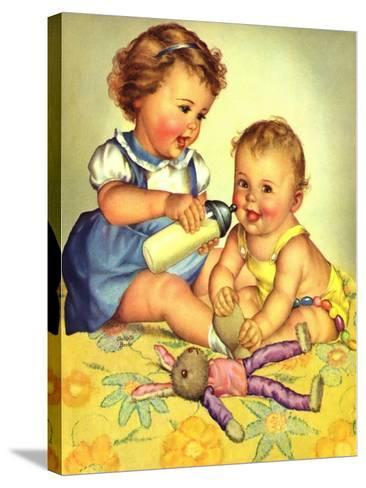 Playing Mother, 1950-Charlotte Becker-Stretched Canvas Print