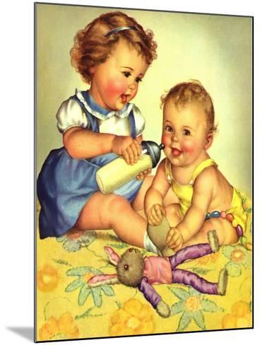 Playing Mother, 1950-Charlotte Becker-Mounted Giclee Print